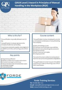 Level 2 Principles of Manual Handling at Work Course Poster