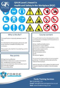 Level `1 Health and Safety in the workplace course poster